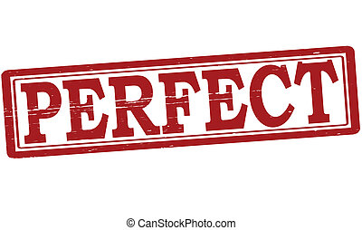 clip art vector of perfect stamp with word perfect inside