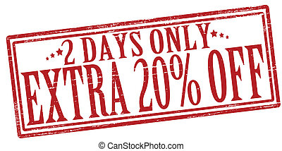 Two days only - Stamp with text two days extra only inside,...
