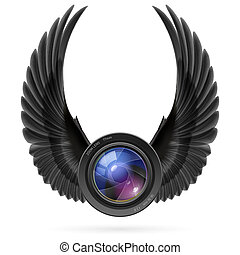 Photography inspired - Photo camera lens with raised up...