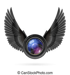 Photography inspired - Photo camera lens with black wings...