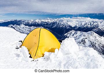 Camping in Caucasus Mountains on Elbrus landscape -...