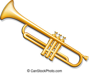 Trumpet. Brass wind musical instrument - Vector illustration...