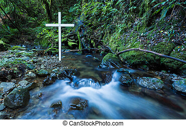 Flowing Water White Cross