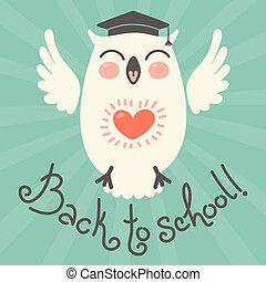 Back to school. Card with an owl. Hand drawn vector...