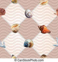 Seamless With Sea Shells and Chains. - Seamless pattern with...