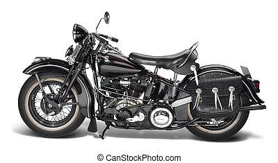 vintage motorbike - sideways shot of a vintage motorbike in...