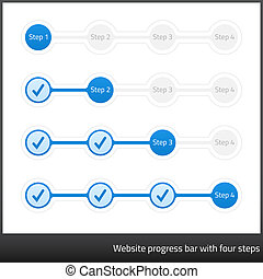 Website progress bar with four steps. Light design with blue...