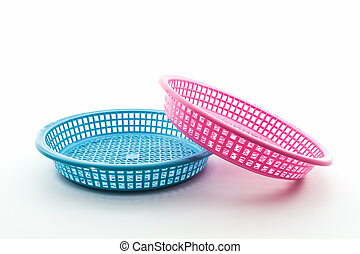 Pink and blue plastic basket - Pink and blue plastic basket...