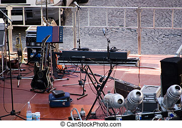 setup of a concert stage