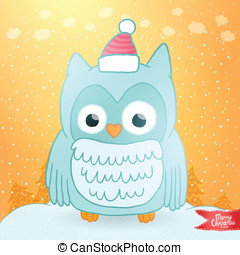 Merry Christmas greeting card with an owl. - Merry Christmas...