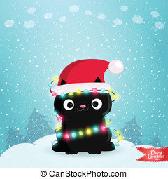 Merry Christmas greeting card with a black cat. - Merry...