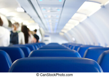 leaving plane - passengers leaving plane after successful...
