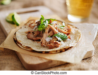 corn tortilla with carnitas and cilantro