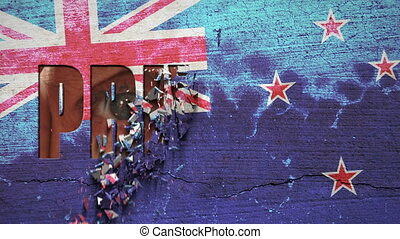 Spying Eyes Crumbling Wall New Zeal - New Zealand flag...