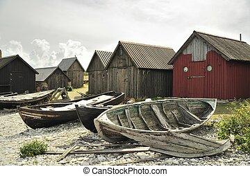 Fishing village - At Fara, an island at Gotland,...