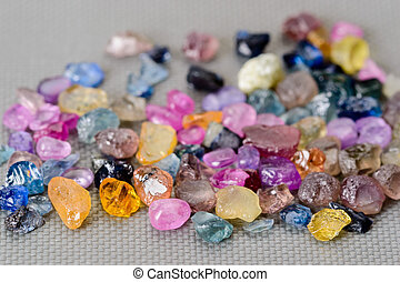 Set of colorful sapphires - Set of uncut, rough and raw...