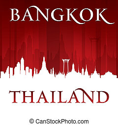 Bangkok Thailand city skyline silhouette red background -...