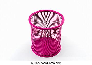 Closeup empty pink pail - Closeup empty pink pail on white...