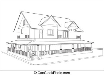 sketch design of house,vector - This image is a vector...