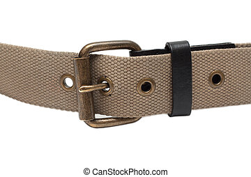 Cloth belt with iron buckle on white background