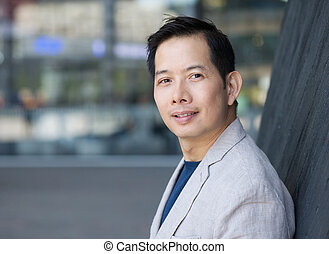 Handsome middle aged asian man - Horizontal portrait of a...