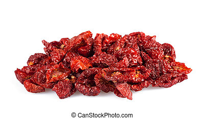 Dried tomatoes isolated on white background.