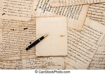 Letters and fountain pen - Fountain pen on antique letters...