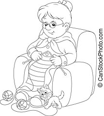 Granny knitting - Grandmother sits in an easychair and knits...