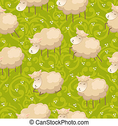 Vector seamless pattern with adorable lambs