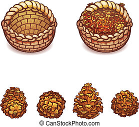 Vector illustration of basket with the pine cones on...