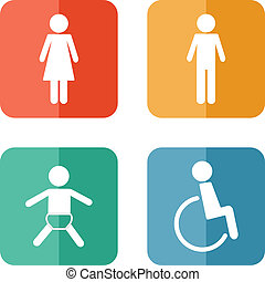 Vector restroom icons on bright buttons - lady, man, child,...