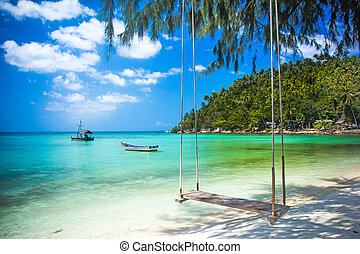 Swing hang from coconut tree over beach, Phangan island...