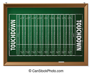 American football field drawn on chalkboard - American...