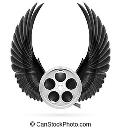 Cinema inspired - Realistic film reel with raised up black...