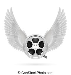 Cinema inspired - Realistic film reel with white wings...