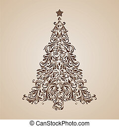 Christmas tree - Elegant Christmas tree of ornate floral...