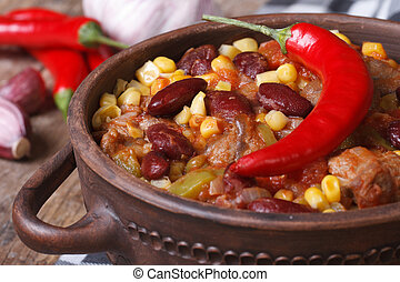 hot chili con carne in a tureen closeup horizontal - Mexican...