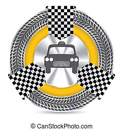 Metallic taxi badge design with tire tread circle and...