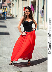 A spanish woman - A beautiful young spanish woman is posing