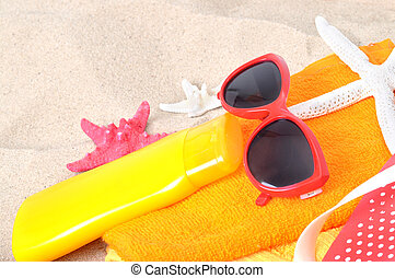 Summer concept of sandy beach, vacation background.