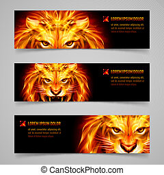 Flaming force - Set of banners with mystic lion in orange...