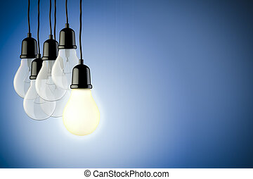 3d light bulbs on blue background