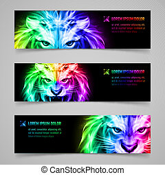 Flaming force - Set of banners with mystic lion in...