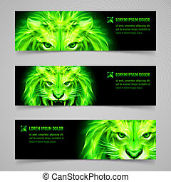 Flaming force - Set of banners with mystic lion in green...