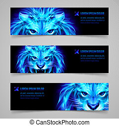 Flaming force - Set of banners with mystic lion in blue...