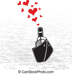 Steamship and hearts - Boat love in valentines day Abstract...
