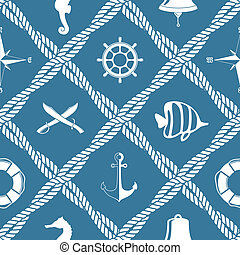 Seamless nautical rope pattern - Seamless nautical rope knot...