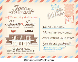 Vintage airmail postcard background vector template for...