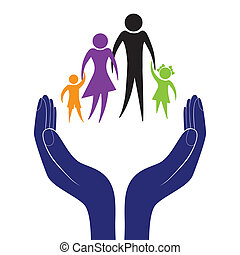Family care vector - Hand in people encouragement help...
