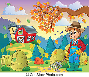 Autumn farm theme 8 - eps10 vector illustration.